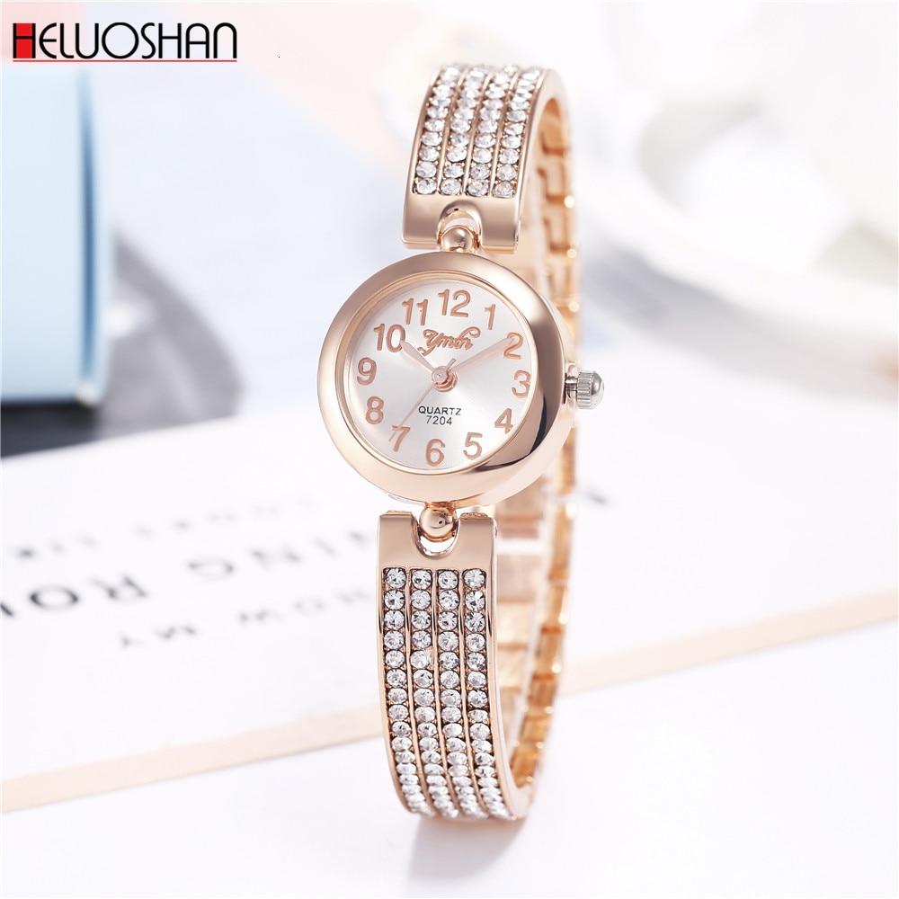 2019 Top Brand Women Bracelet Watches Luxury Rhinestone Rose Gold Dress Watch Ladies Fashion Casual Alloy Quartz Wristwatches