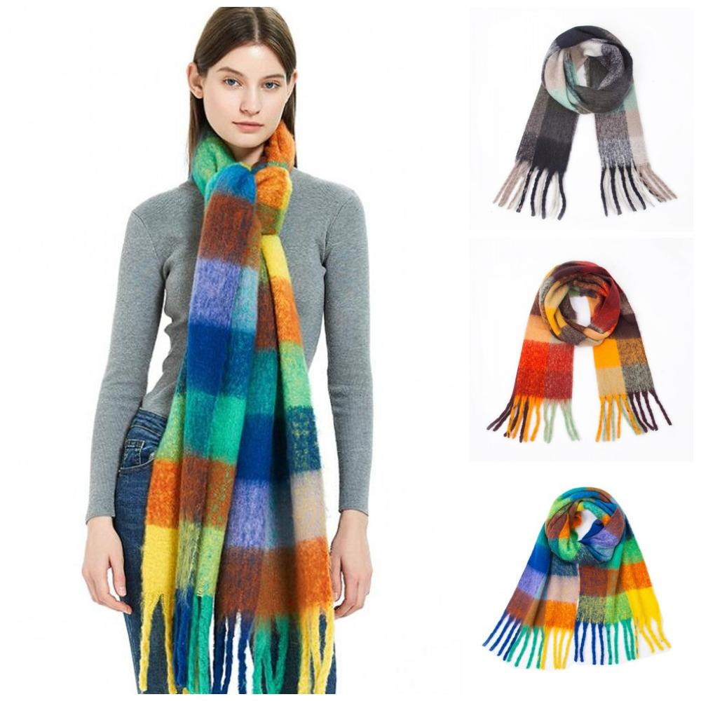 New Women Rainbow Cashmere Scarves With Tassel Lady Winter Autumn Long Scarf High Quality Female Shawl Hot Sale Girl Scarf 250CM