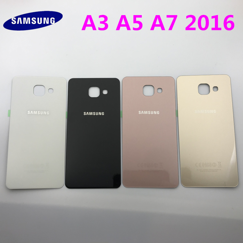Rear Panel Battery Glass Back Door Cover For <font><b>Samsung</b></font> Galaxy A3 A310 A310F A5 A510 <font><b>A510F</b></font> A7 A710 A710F(2016)Pre-adhesive stickers image