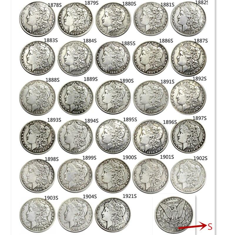 США полный набор (1878-1921)S 28 шт Морган доллар посеребренные копии монет