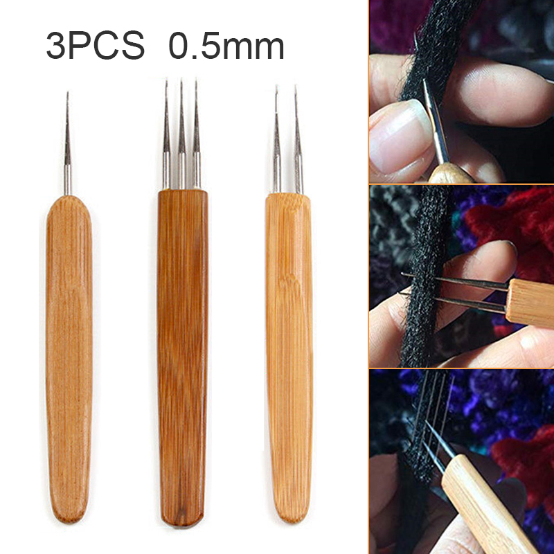 3pcs Latch Hook Crochet Needle Dreadlock Braid Hair Weaving Tool Bamboo Wooden Handle Dreadlock Braiding Hair Tool