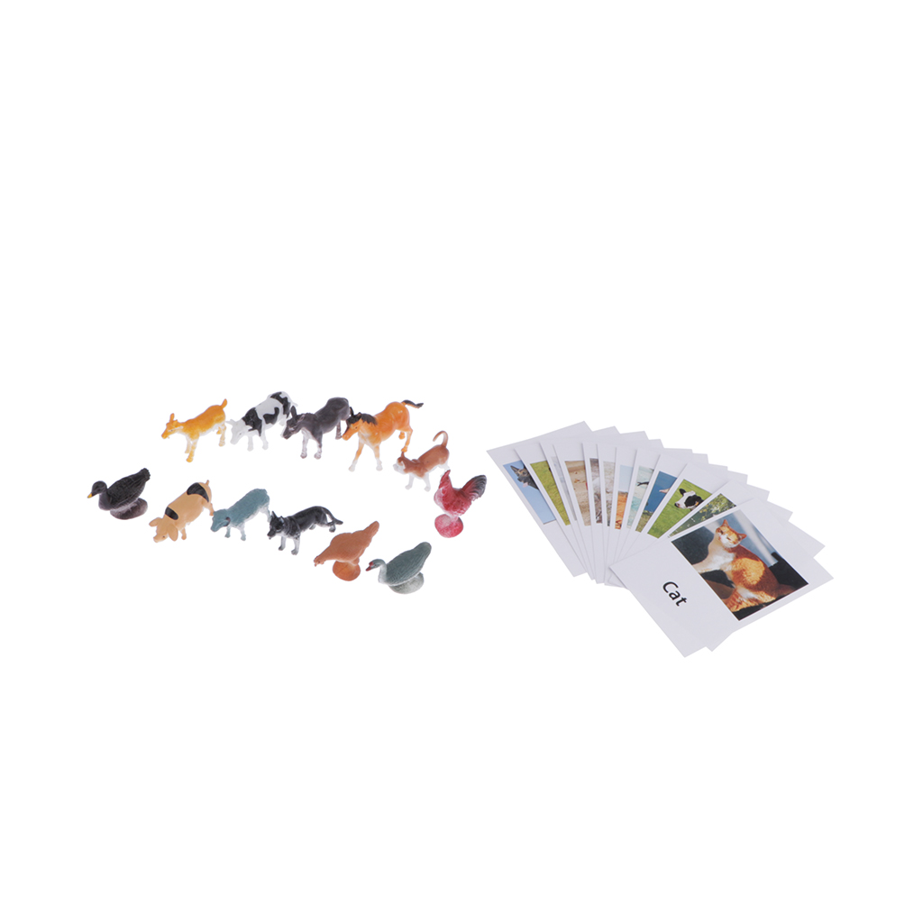 Montessori Learning Materials Toy - 12pcs Miniature Farm Animal Figure Match Set Matching Cards Game
