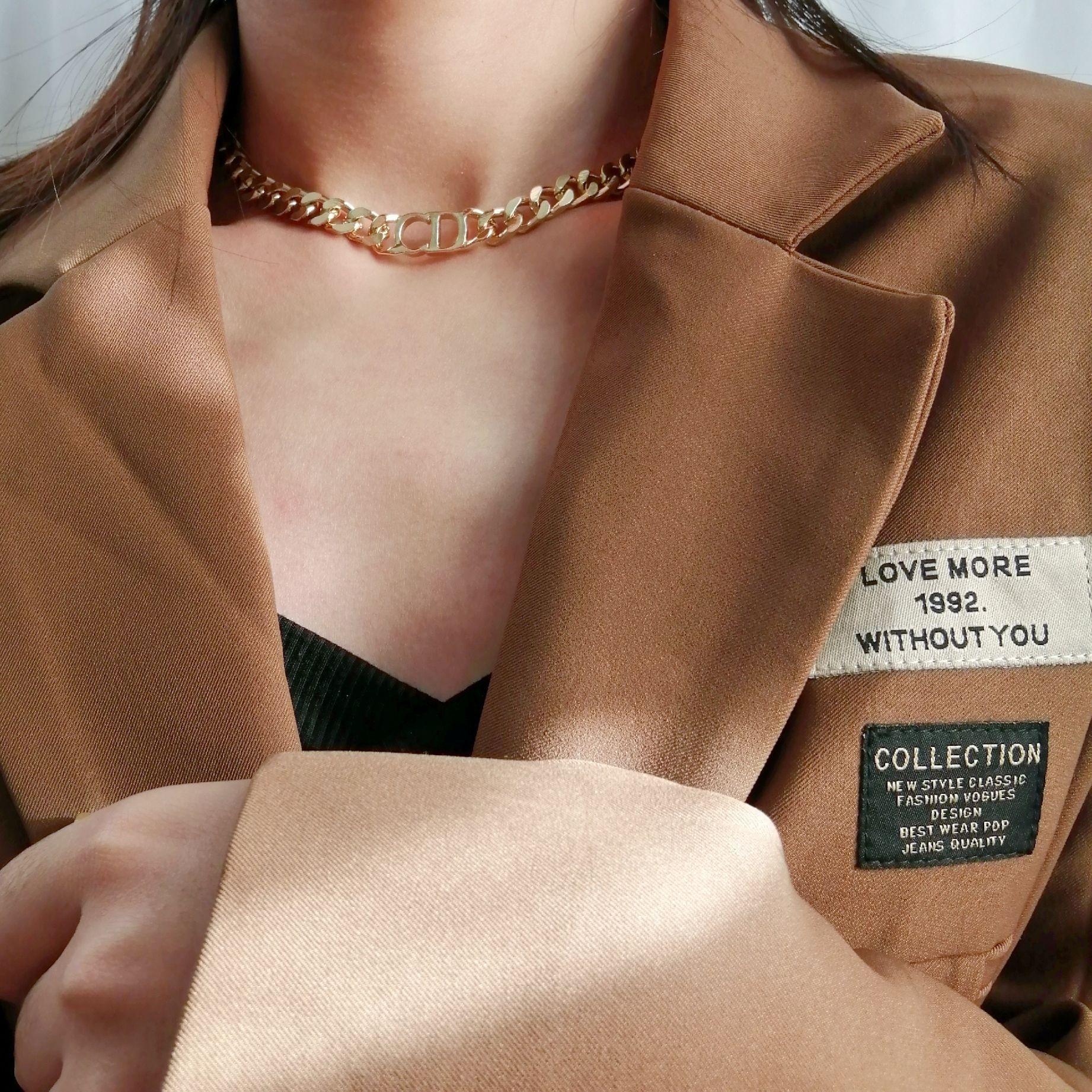 Модное ожерелье из нержавеющей стали нового дизайна для женщин, золотая цепочка высокого качества, толстый чокер с буквами в стиле панк, юве...