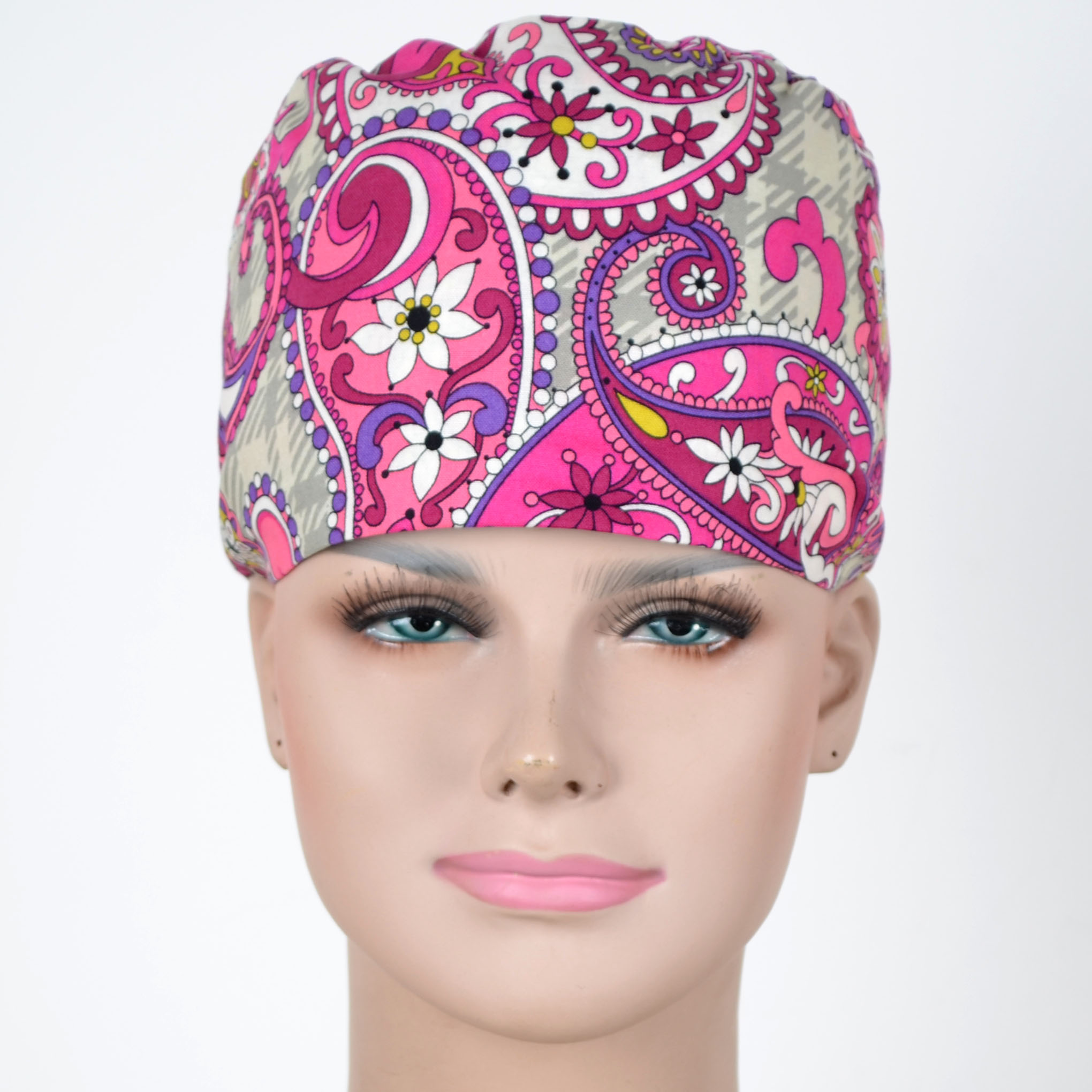 Hennar Women Cotton Scrub Caps  For Hospital Medical Hats Print Adjustable Unisex Surgical Caps In Grey With Floral Prints