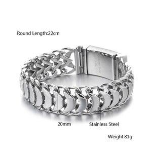Image 5 - Bracelet bouddha pour hommes, 20mm, en acier inoxydable, avec Logo, lien cubain, couleur argent 316l, bijou masculin
