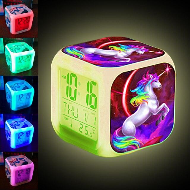 Unicorn Alarm Clock LED Digital Clock 7 Color Changing Light Night Glowing Kids Desk Clock despertador unicornio Children Gift 2