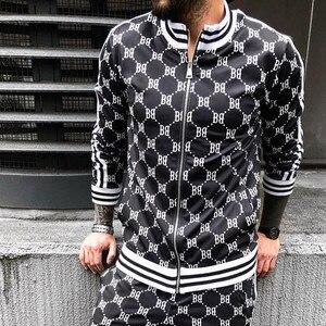 Новый мужской повседневный комплект молнии, Осенний цветной клетчатый спортивный костюм, мужской свитер с карманом, модные куртки, мужские ...