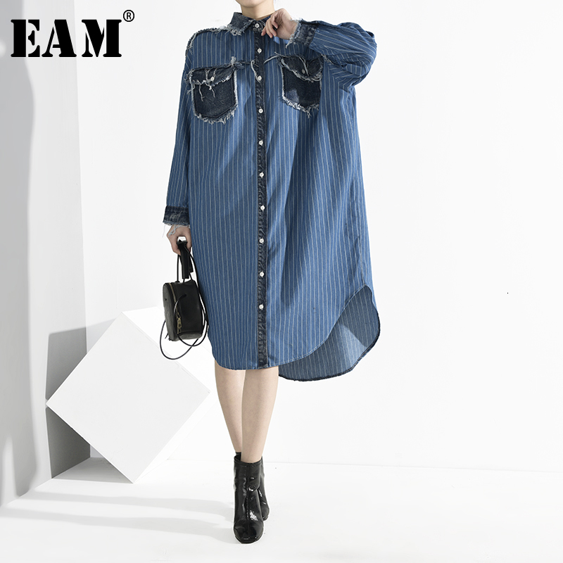 [EAM] Women Blue Denim Burr Striped Big Size Shirt Dress New Lapel Long Sleeve Loose Fit Fashion Tide Spring Autumn 2020 A282