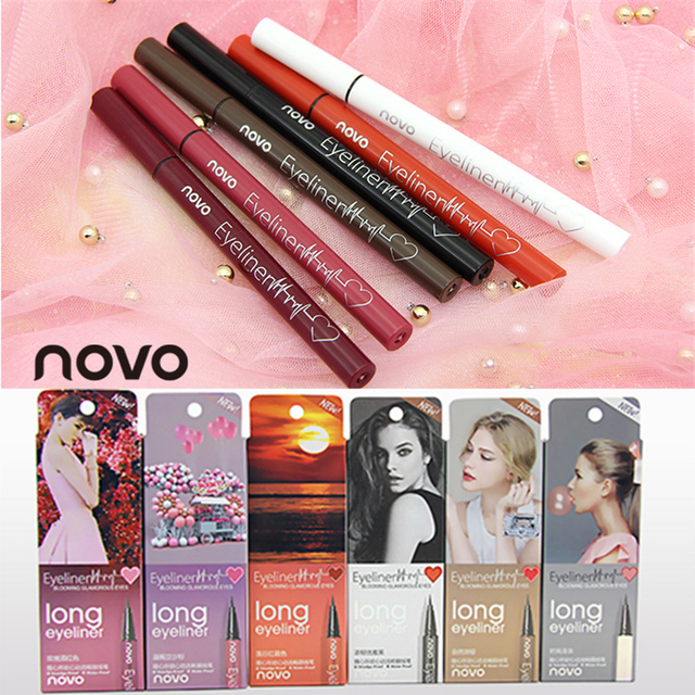 6 Color Liquid Eyeliner Pencil NOVO Cosmetics Eye Makeup Long Lasting Waterproof Black Eye Liner Pen Women Make Up