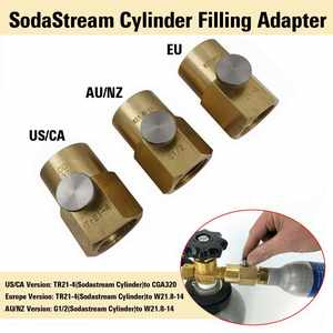For SodaStream Cylinder Refill Adapter + Bleed Valve + G1/2 to W21.8-14 Connector