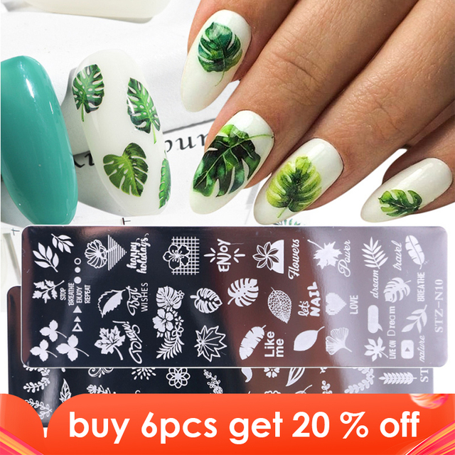 1pcs 12x4cm Nail Stamping Plates Leaf Flowers Butterfly Cat Nail Art Stamp Templates Stencils Design Polish Manicure TRSTZN01 12