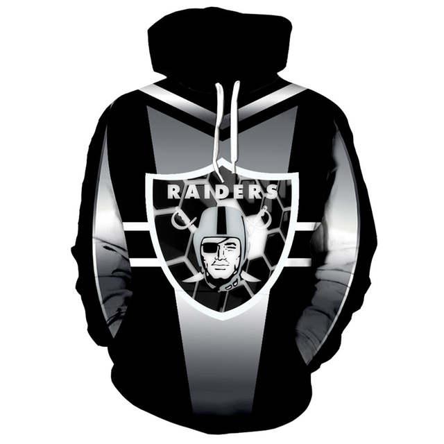 Oakland Raiders 3D Skull Zip Hoodie Pullover Sweatshirt for