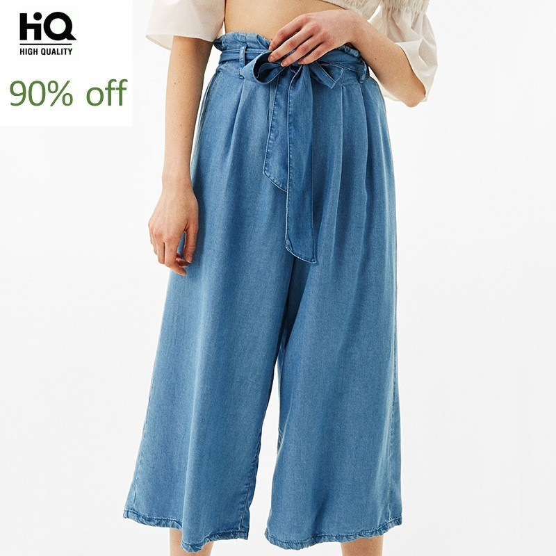 2020 New Arrival Hot Sale Fashion Loose Fit Wide Leg Pants Women Bohemian High Waist Retro Bow Sashes Female Jeans Lace Up Solid