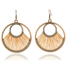 Gorgeous Boho Ethnic Round Thread Drop Earrings for Women Female Dangle Earrings Haning Engagement Jewelry Accessories