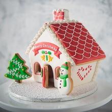 цена на 8pcs/set 3D Christmas Cookie Cutters Cake Cookie Mold Fondant Cutter DIY Baking Tools Xmas House Sugar craft Baking Plastic Mold