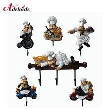 Kreative Küche Wand Haken Chef figurine Wand Rack harz handwerk für wohnzimmer küche charakter modell home garten Ornamente