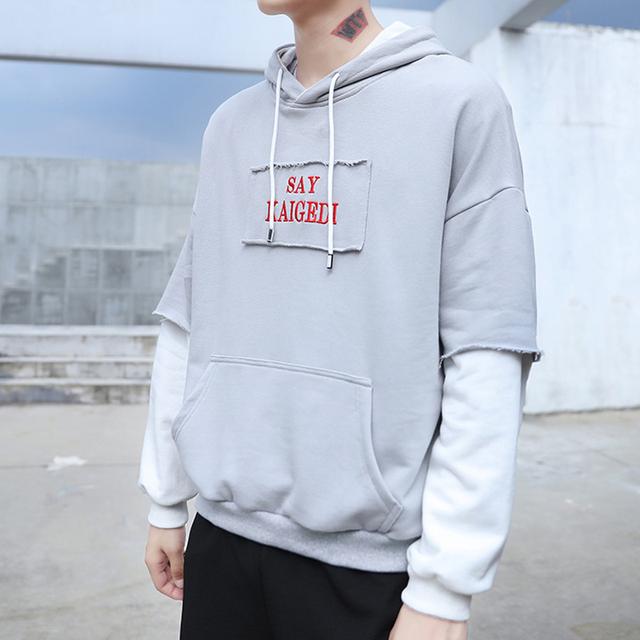 2020 New Men Hoodies Sweatshirts Loose Large Size Men's Hooded Shirt Mens Fashion Brand Cuff Stitching Men Hoodies Letter Print