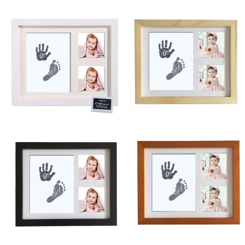 Baby Footprint Kit Handprint Picture Frame With Safe And Non-Toxic Ink Pad Perfect Newborn Keepsakes Girls Boys Shower Gift