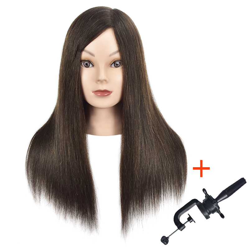 """Professional Cosmetology Mannequin Training Head With Human Hair Brown Hair Dummy Head 18"""" Wig Hairdressing Head For Hairstyles"""