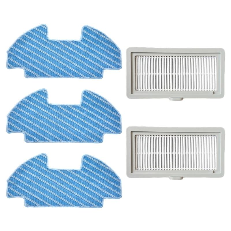 2Pcs Filters+3Pcs Mop Cloths for Midea I5 I5Young I9 I5 Extra Vacuum Cleaner Home Appliance Parts Replace