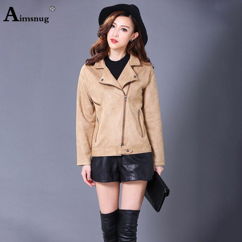 Aimsnug Autumn Leather Jacket Women Slim Patchwork Plus Size 3xl Grey Leather Coat Woman Punk Moto Bikers Jacket Casaco Feminino