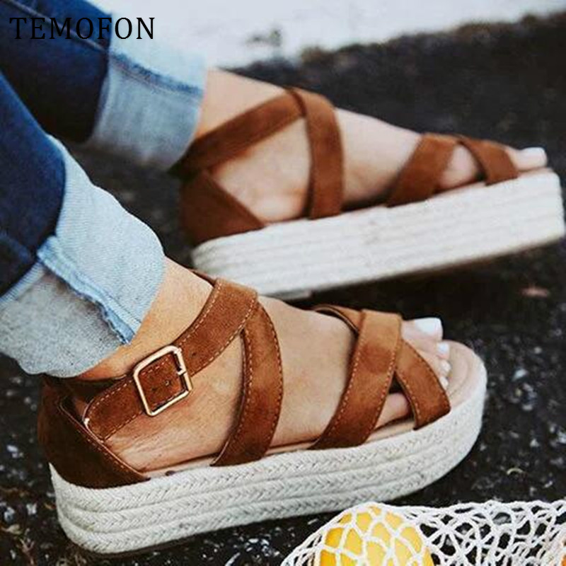 TEMOFON gladiator sandals women ladies platform sandals ankle strap summer shoes black Leopard high heel Wedges Shoes new HVT806