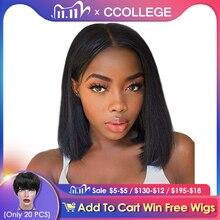 CCollege pelucas de encaje frontal Bob 13x4 para mujeres negras, pelo humano brasileño liso Remy, cierre de encaje corto, pelucas con minimechones