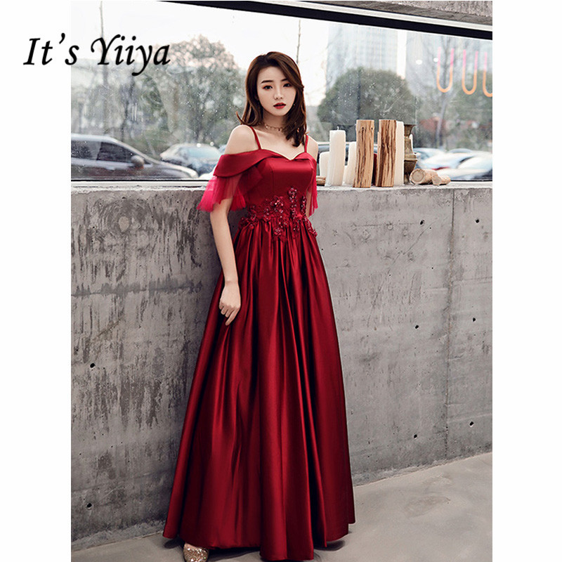 It's Yiiya Evening Dress 2019 Backless Lace Up Spaghetti Strap Floor Length Dress Elegant Boat Neck Embroidery Formal Gown E1303