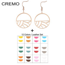 Cremo Branches Earrings For Women Stainless Steel Jewelry Feather Shape Earrings Leather Dangle Earrings