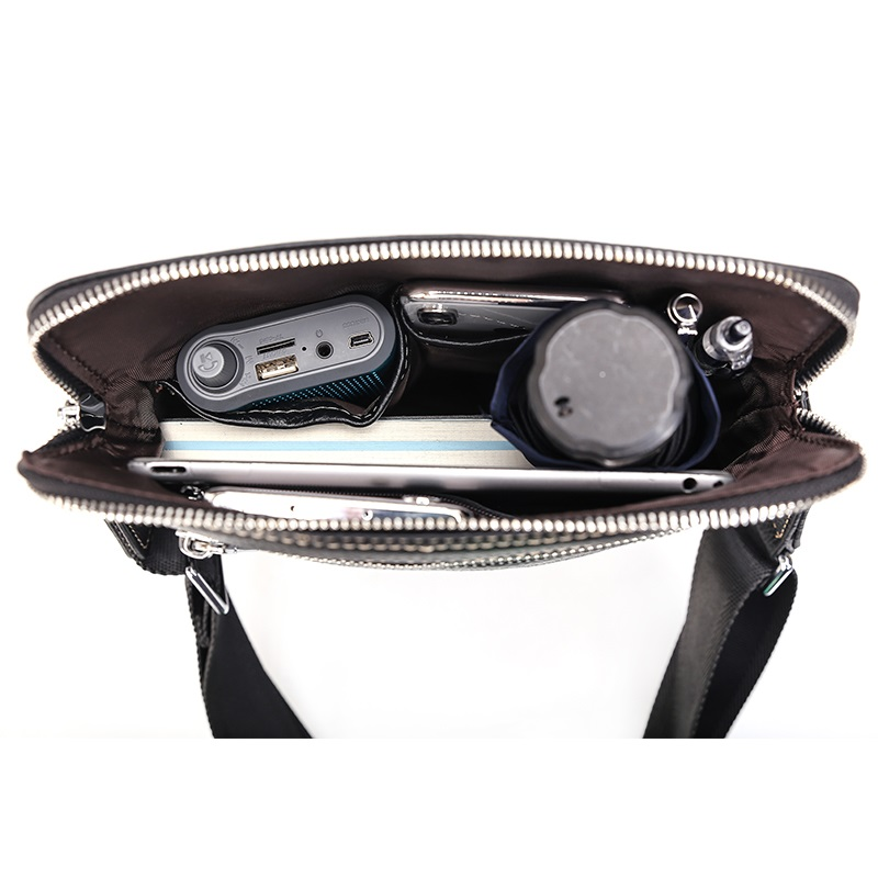 Mens Borse a Spalla Nero di Affari del Cuoio Genuino Casual di Modo Flap Crossbody Viaggio Messenger Bag Maschile - 3