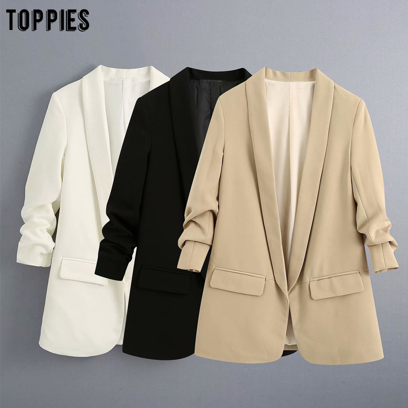 Toppies Leisure Suit Jacket With Roll Sleeves Summer Thin Blazer Jacket Womens White Blazer Loose Cardigan Coat