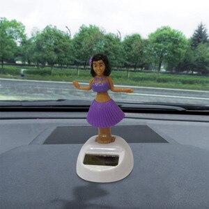 Car Ornament Hawaii Girl Car Solar Powered Dancing Animal Swinging Animated Bobble Dancer Funny Toys Car Accessories #PY10