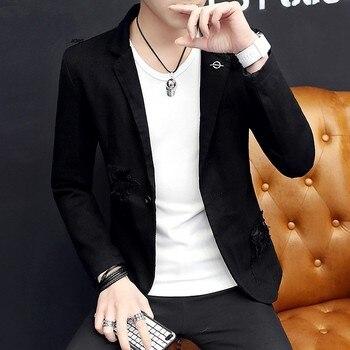 Slim Fit Personalit Nightclub Wear Fashion Casual Mens Blazers Long Sleeve Single Button Hole Ripped High Street Male Coats
