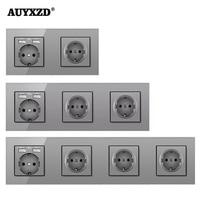 AUYXZD Steckdose Steckdose Mit Dual USB Lade Port Handy Halter Kristall Gehärtetem Glas Panel 16A
