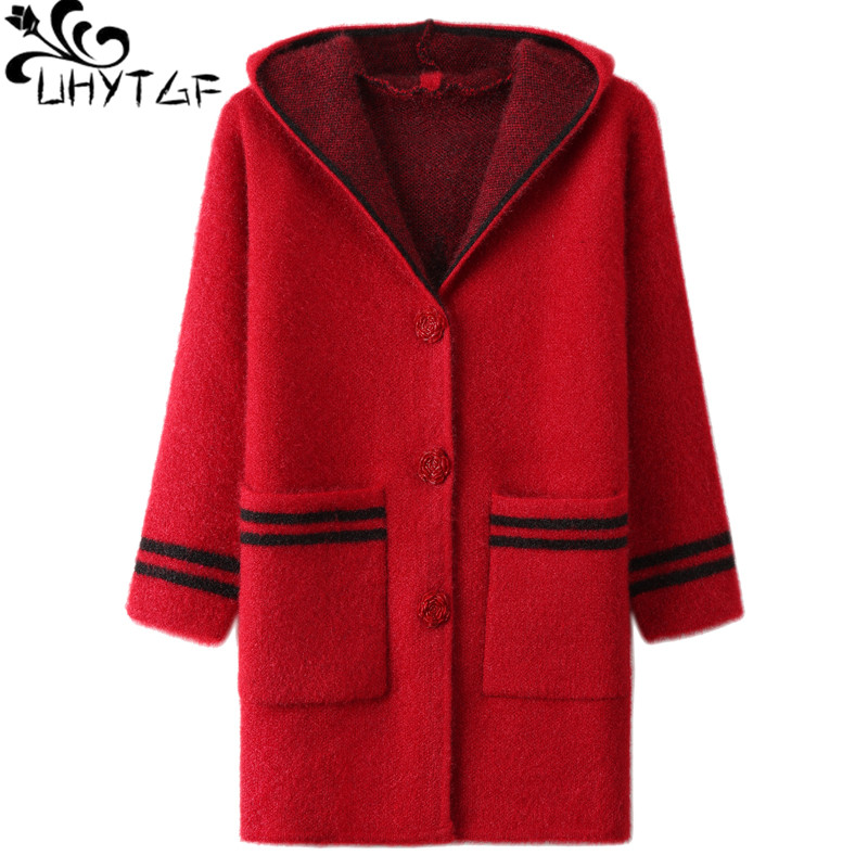 UHYTGF Hooded Knitted Autumn Sweater Women's Single-breasted Cardigan Women Slim Sweater Coat Thicken Warm Winter Jacket 4XL 728