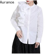 [Aurance] 女性長袖三次元花ホワイトブラウス新oネックルーズフィットシャツファッション潮春2021服