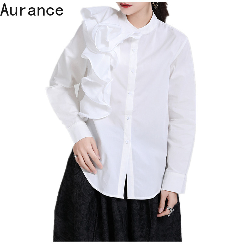 [Aurance] Women Long Sleeve Three dimensional Flower White Blouse New O neck Loose Fit Shirt Fashion Tide Spring 2021 Clothing|Blouses & Shirts| - AliExpress