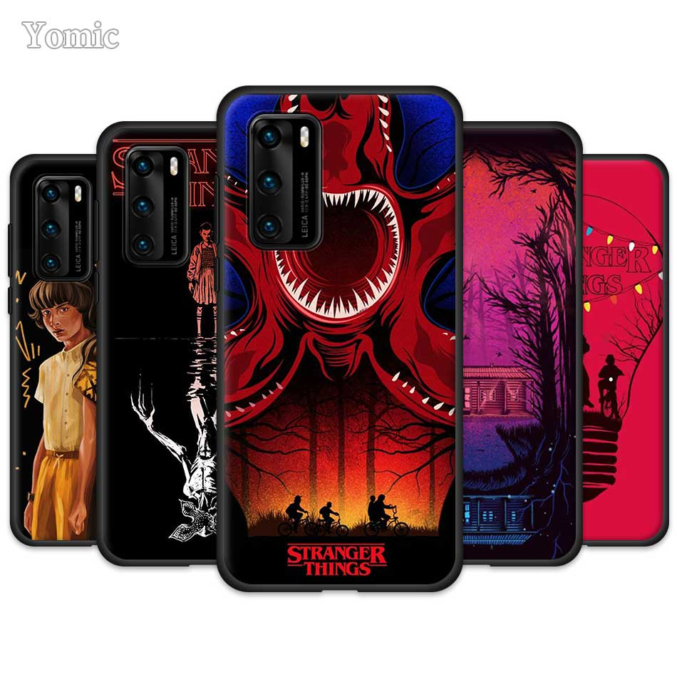 <font><b>Stranger</b></font> <font><b>Things</b></font> TV <font><b>Case</b></font> for <font><b>Huawei</b></font> P30 P40 <font><b>Lite</b></font> E <font><b>P20</b></font> Pro P10 P Smart Z Plus 2019 Silicone Black Soft Coque <font><b>Phone</b></font> Cover Bumper image