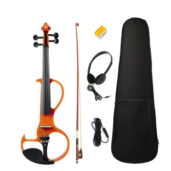Electric Violin 4/4 Full Size Violin with Case Bow Earphone Rosin Set Silent Violin electric violin full size 4 4 electric violin fiddle solid wood