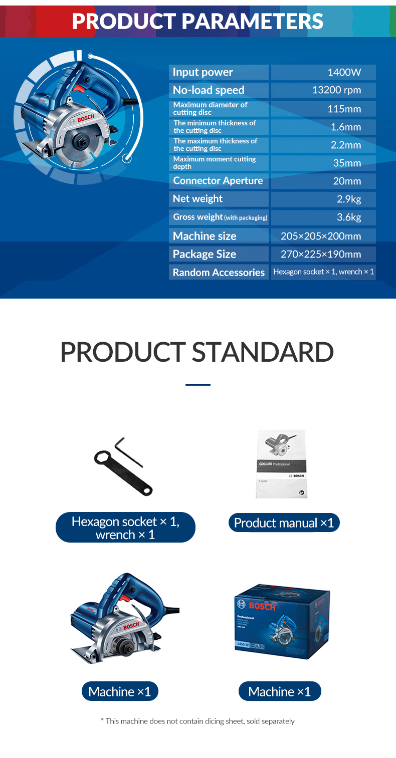 Product parameters of Bosch Electric Mini Circular Saw