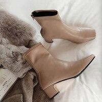 Черные короткие армейские ботинки из искусственной кожи осенние женские Ботинки martin на молнии на среднем массивном каблуке ботильоны для ж...
