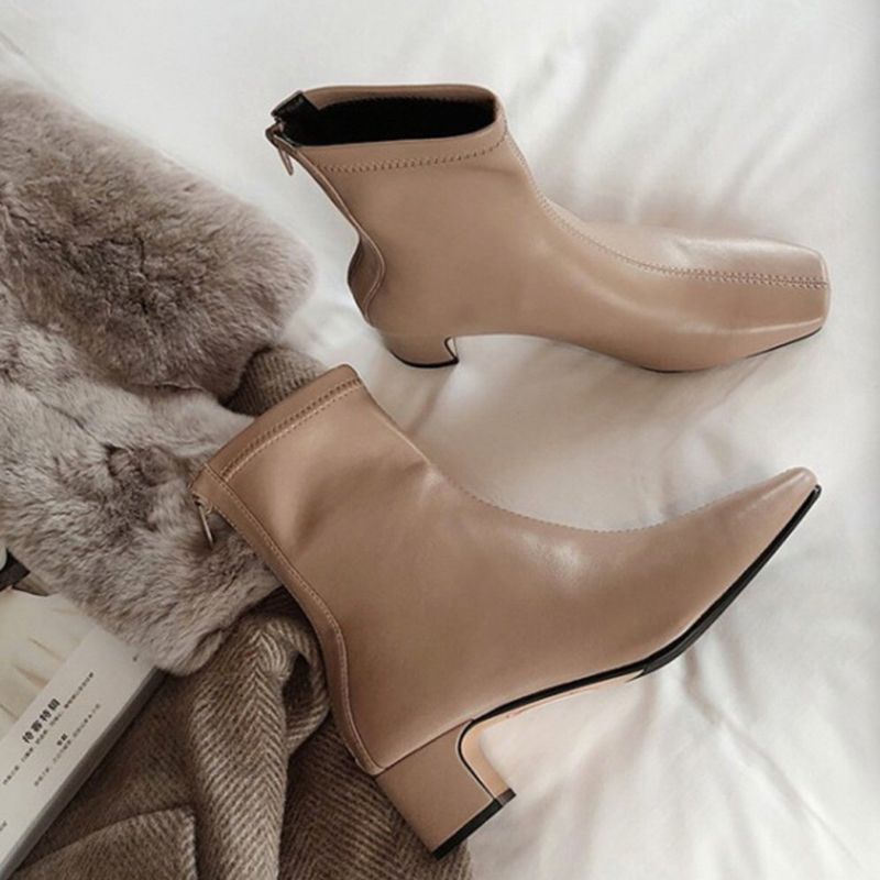 Khaki PU Leatehr Short Combat Boots Chunky Middle Heel 2020 Spring Women Zipper Martin Boots Ankle Boots For Women|Ankle Boots|   - AliExpress