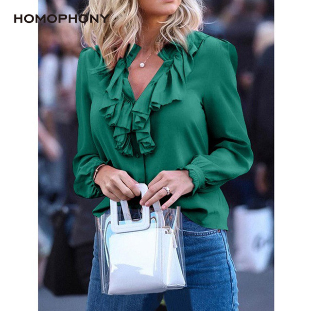 Homophony Women Blouse Elegant Fashion Ruffles Solid V Neck Vintage Women Tops Long Sleeve Spring and Summer Office Lady