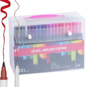 Image 2 - 100 כפולה מברשת עט הרגיש טיפ ספר קליגרפיה עט ציור מנגה אמנות סמן אמנותי כפולה טיפ בצבעי מים מברשת עט