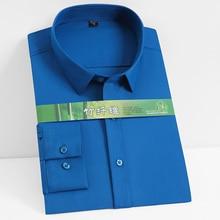 Smooth Mens Spandex Solid Plain Dress Shirts Full Sleeve Bamboo Fiber Comfortable Anti Wrinkle Fit Casual pocketless shirt