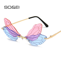 SO&EI Fashion Rimless Dragonfly Wing Sunglasses Women Vintage Clear Ocean Lens Eyewear Men Pink Yellow Sun Glasses Shades UV400