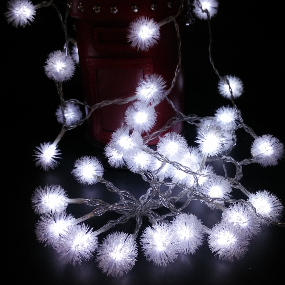 10M 100 Leds Snowball String Lights Xmas Decoration Fairy Light EU US Plug Snowflake Decors For Christmas Trees New Year Holiday