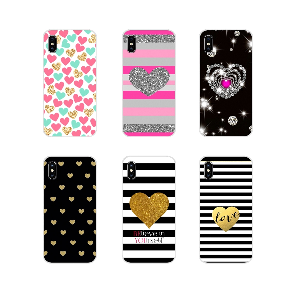 Love Striped Golden Heart Glitter Cell Phone Cover Bag For Samsung Galaxy J1 J2 J3 J4 J5 J6 J7 J8 Plus 2018 Prime 2015 2016 2017 image