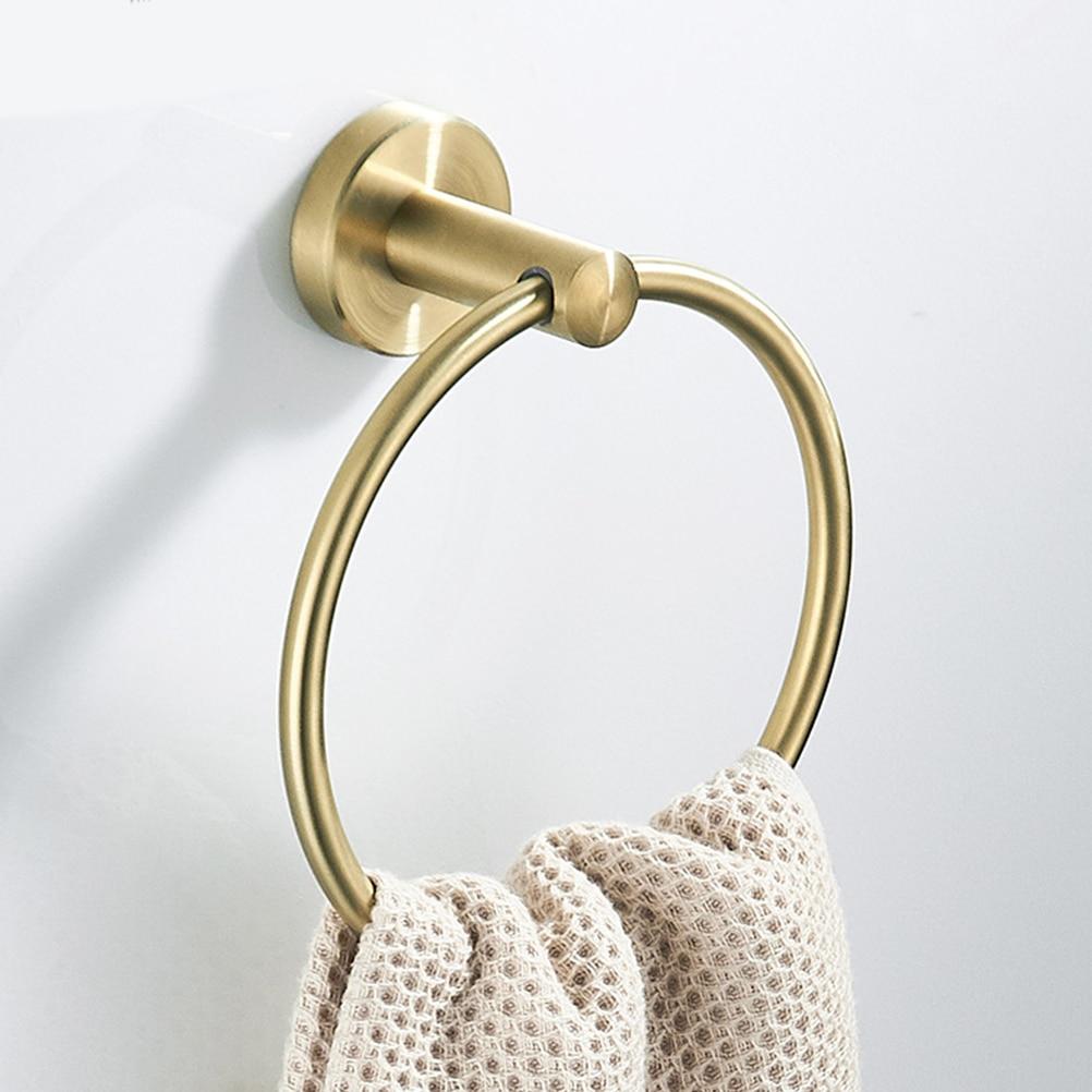 Stainless Steel Towel Hook Hanging Bathroom Towel Ring Creative Towel Hook (Golden)