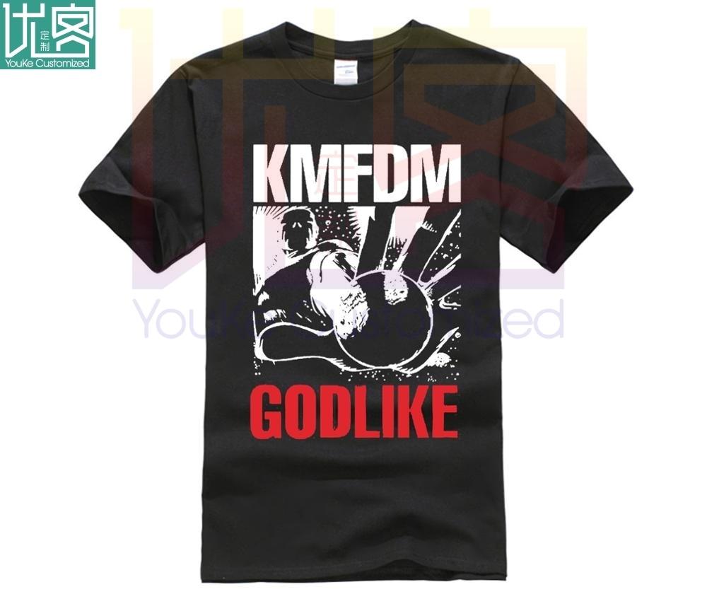 men short sleeve t shirt KMFDM Men's Godlike Slim Fit T-shirt Black 3D T Shirt Men Plus Size Cotton Tops Tee Men T Shirt